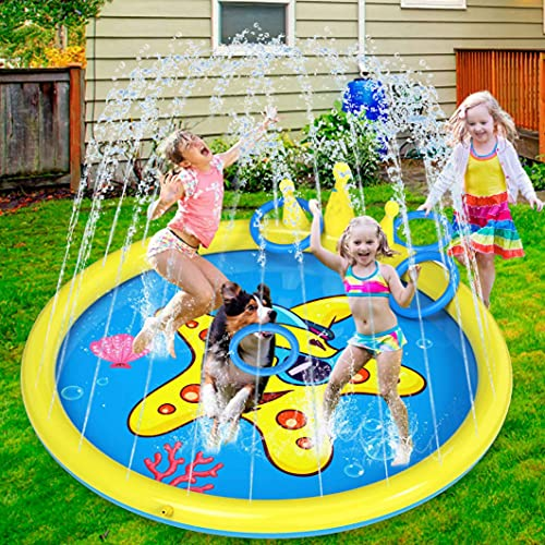 INNOCHEER Splash Pad ,68 Inch Sprinkler Splash Pad Toys for Kids & Toddlers, Inflatable Kids Sprinkler Play Mat with Funny Ring Toss Game, Summer Outdoor Water Toys for Toddlers , Babies and Dogs