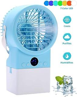 Nifogo Aire Acondicionado Enfriador Personal Portátil, Enfriador Evaporativo Humidificador con Temporizador, 8 Velocidades Ajustables con Mango, luz LED