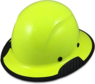DAX Fiberglass Composite Hard Hat with Hard Hat Tote- Full Brim, High Viz Lime with Protective Edging