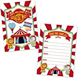 Carnival Circus Birthday Party Invitations for Kids (20 Count with Envelopes) - Under The Big Top Invites - Carnival Circus Party Supplies