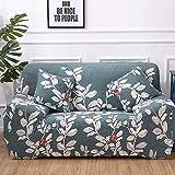 Funda Sofas 2 y 3 Plazas Hojas De Flor Blanca Fundas para Sofa con Diseño Elegante Universal,Cubre Sofa Ajustables,Fundas Sofa Elasticas,Funda de Sofa Chaise Longue