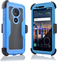 Compatible for Motorola Moto G6 Forge/ G6 Play 2018 (XT1922) Full Body Rugged Holster Explorer Tough Armor Case with Swivel Belt Clip & Built in Screen Protector Clear G6 Play/Forge Cover (Blue)