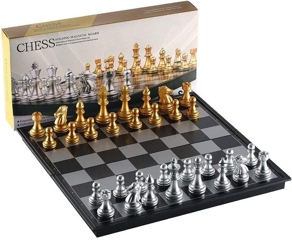 XIAOQIU Checkers Set Chess Game Direct stock discount Magne Silver Max 54% OFF Gold Pieces Folding