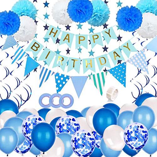 JSTC Deko Geburtstag Junge, Geburtstagsdeko, Happy Birthday Girlande Kindergeburtstag Luftballons Blau Dekoration Pompoms Wimpelkette Dekoset Partydeko für Taufdeko Party.