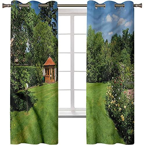 Tende oscuranti per camera da letto, trattamento finestra termica, giardino isolato, rose percorso gazebo, 2 pannelli 100 x 150 cm, tendaggi oscuranti per soggiorno