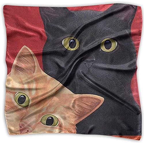 Uridy Quadratischer Satinschal Süßes seidenes Halstuch mit leichtem Kopftuch von Cat Like Lightweight Bandanas