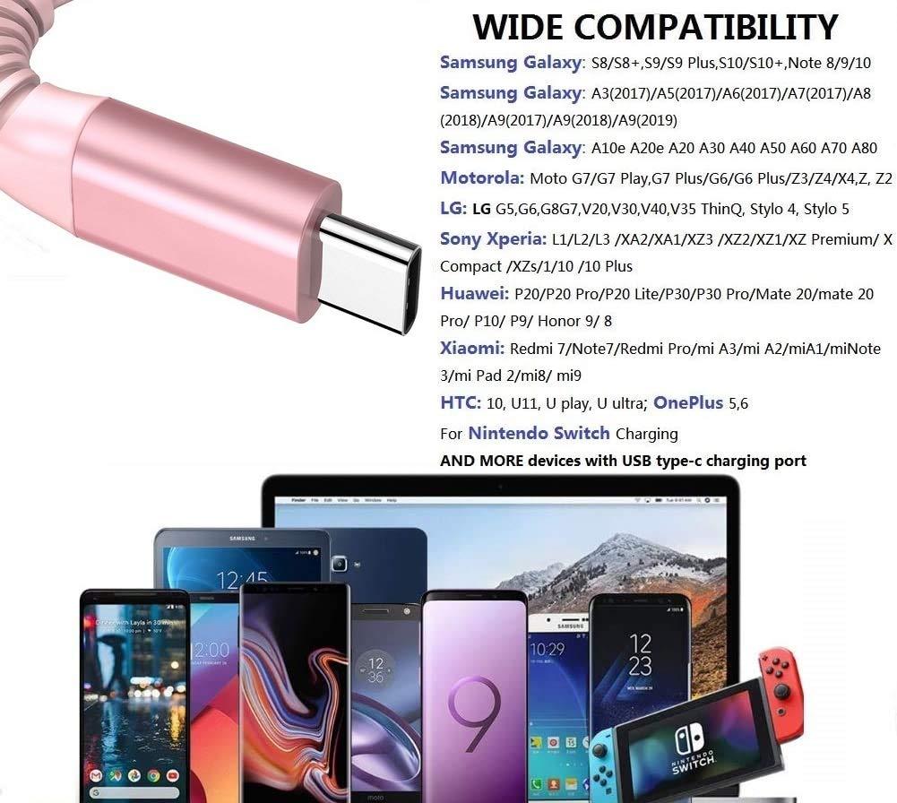 Cable USB Tipo C [2-Pack, 2M] Cable Cargador Tipo C de Nylon Trenzado Cable Tipo C USB Cargador para Samsung S10/S9/S8/A20/A40/A50/A70,Huawei P9/P10/P20/P30,Nintendo Switch, Sony Xperia: Amazon.es: Electrónica