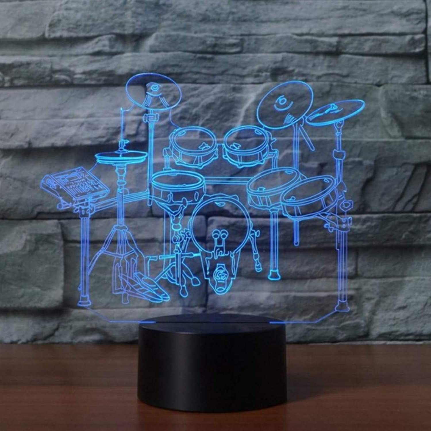 Zonxn 3D Led Home Decor 7 colors Rack Drum Set Modelling Night Lights Musical Instruments Table Lamp Kids Bedside Light Fixture Gifts