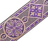 Heritage Trading 2 3/8 Large Jacquard Garniture Style Médiéval Violet Eglise Habit Couture Violet