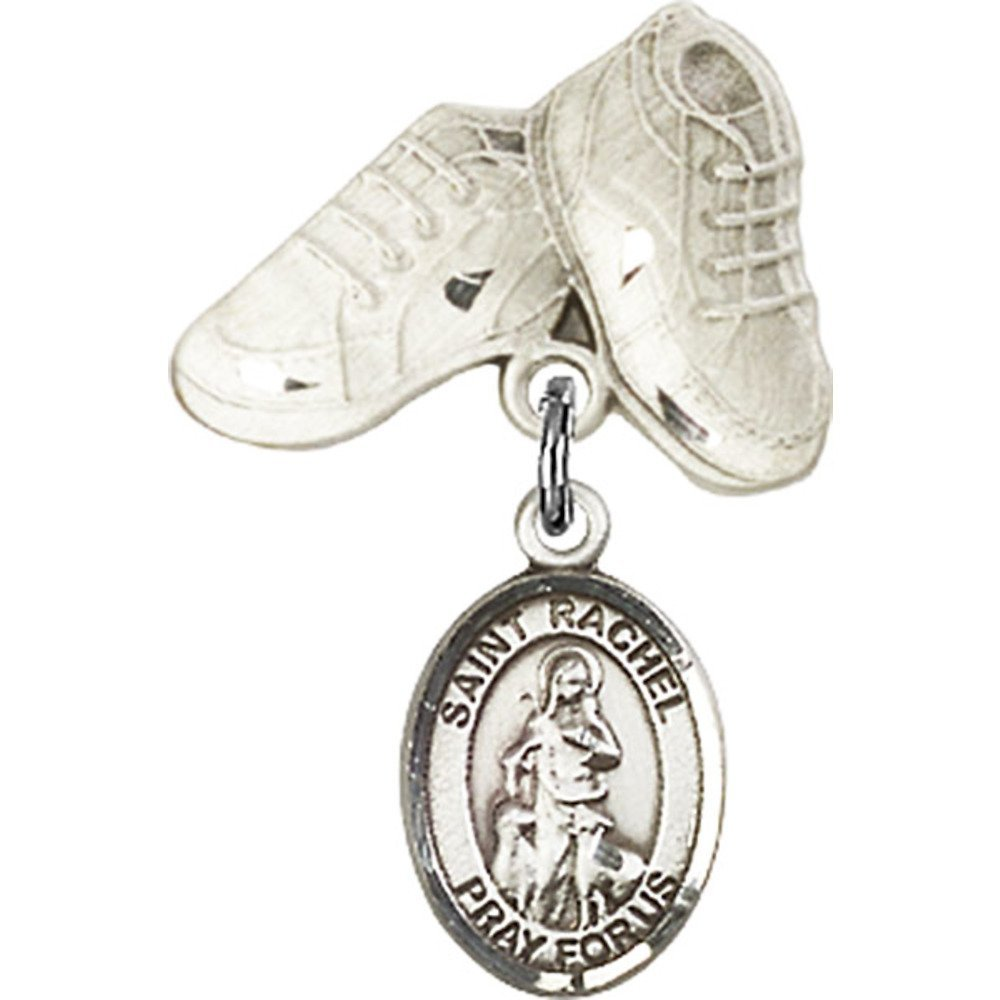 New sales Sterling Regular store Silver Baby Badge with Rachel Boots and Charm St.