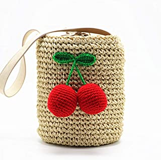 GSERA Frauen Zylinder Handtaschen Bohemian Hair Straw Bag Gewebte Strandtasche