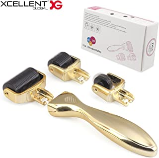 Xcellent Global 3-in-1 Derma Roller Kit - 3 Separate Roller Heads of Different Micro Needle Count 180c/600c/1200c in 0.5mm, 1.0mm & 1.5mm Size Made of Medical Steel for Eyes, Face and Body * Safe- Includes Travel and Storage Case Version Upgraded Gold HG208