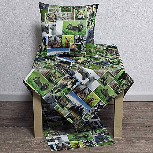 Hossner Herbst Fotodruck Tischläufer Volpe Waldtiere grün braun 50x150cm