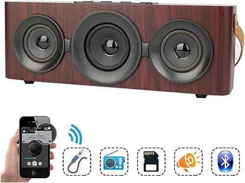 WAOBE Haut-Parleur bleutooth de Grain de Bois, Style rétro portable Enceinte stéréo extérieure sans Fil Mini Voyage Soundbars HD Audio, AUX 3,5 mm et SD pour la Maison
