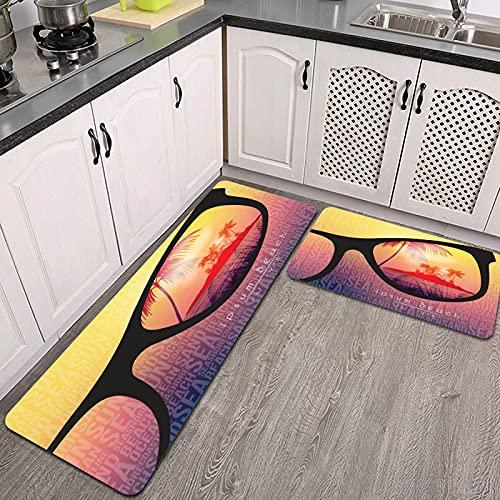 2 Piezas Alfombrillas de Cocina,Diseño de Volante de Fiesta de Playa de Verano con Gafas de Sol en Vector de Fondo Antideslizante Alfombra para Puerta de Baño Juego de alfombras Cocina Lavables