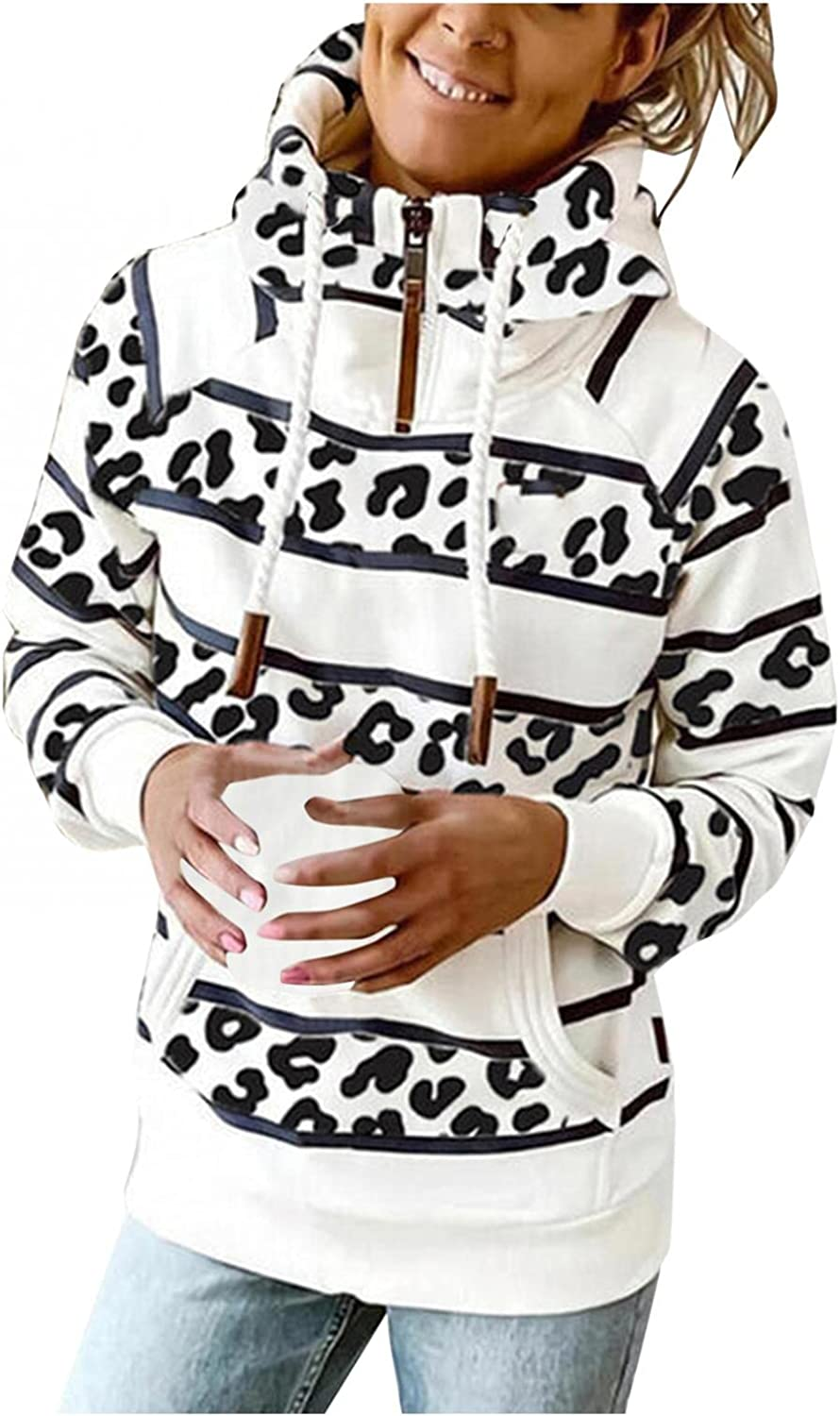 Gibobby Hoodies for Women Pullover Winter Striped Long Sleeve Women's Sweatshirts Printing Oversized Drawstring Pocket Hooded