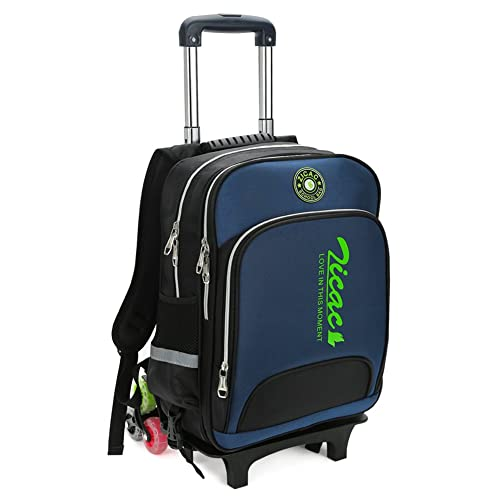ea2a50750644 Kid Rolling School Backpack Trolley Carry on Luggage Removable Pull Rod  Cabin Bag (Dark Blue