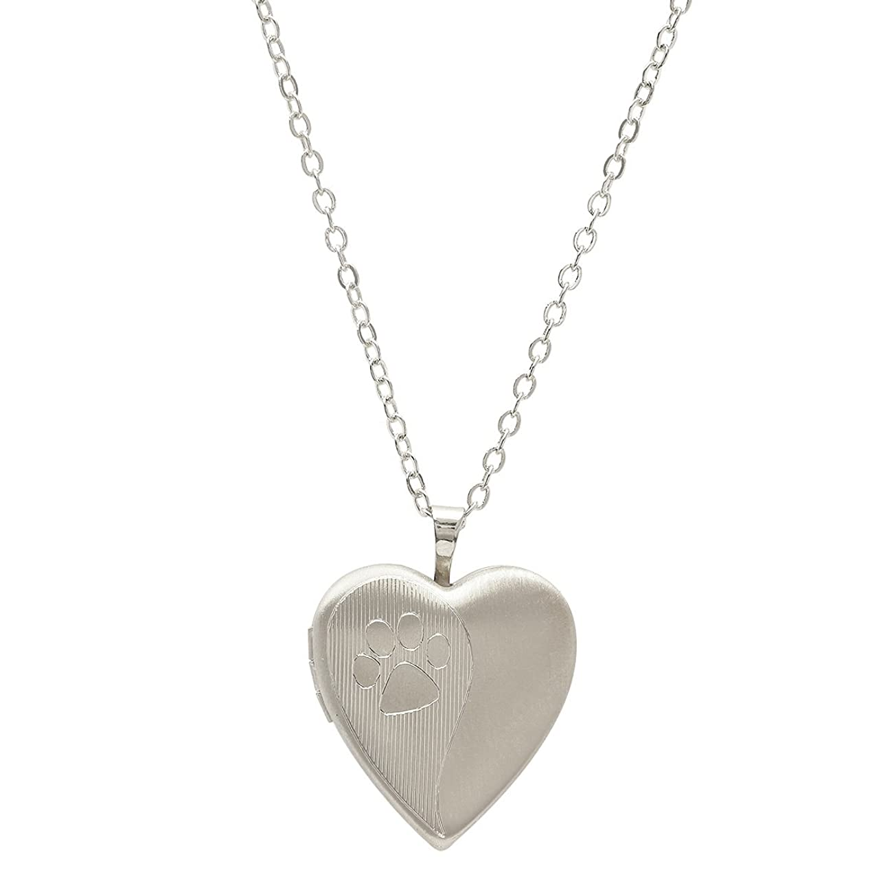 Pori Jewelers 925 Sterling Silver Dog Paw Heart Locket Necklace in Diamond Cut 18
