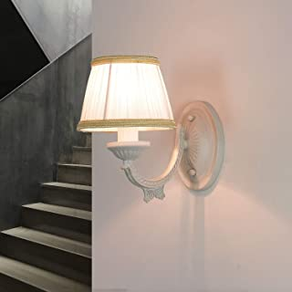 Lámpara de pared estilo shabby blanco con pantalla de tela metálica E14 clásica acogedora SOFIA para salón o dormitorio