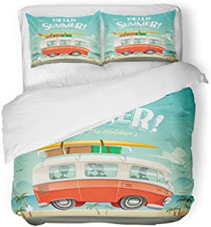 Emvency 3 Piece Duvet Cover Set Breathable Brushed Microfiber Fabric People Hello Summer Camper Van Vacation Vintage Happy Beach Australia Surf Copy Bedding Set with 2 Pillow Covers Twin Size