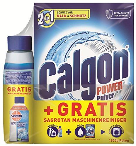 Calgon 2in1 Pulver (1,6kg) + Sagrotan Waschmaschinen Hygiene-Reiniger (250ml) GRATIS