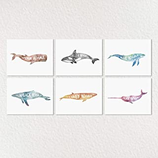 Whale Nursery Art, Whale Print Set, Watercolor Art, Ocean Nursery Prints, Nautical Wall Art, Humpback Whale, Narwhal, Orca, Sperm Whale, Kids Bedroom Decor, Boy Room Decor, 8x10inch Unframed Set of 6