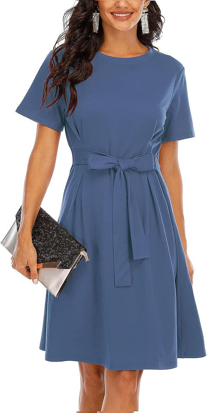 CHARMYI Tshirt Dresses for Women Casual Summer Flowy Short Sleeve Tunic Loose Empire Waist Midi Dress Tie Waist