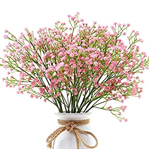 Qiddo 12 Pcs Baby's Breath Artificial Flowers Bulk Garlands for Decoration Gypsophila Real Touch Flowers for Wedding Party Home Garden Outdoor