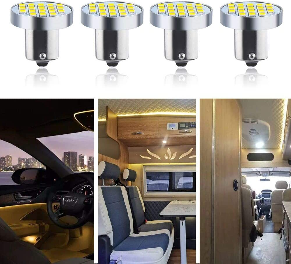 2-Pack Luxvista BA15S LED Bulb 3W 12V Bayonet Single Contact Base LED Light Bulb 30W Halogen Equivalent Bulb for RV Camper Car Trailer Boat Interior Lights Warm White 3000K