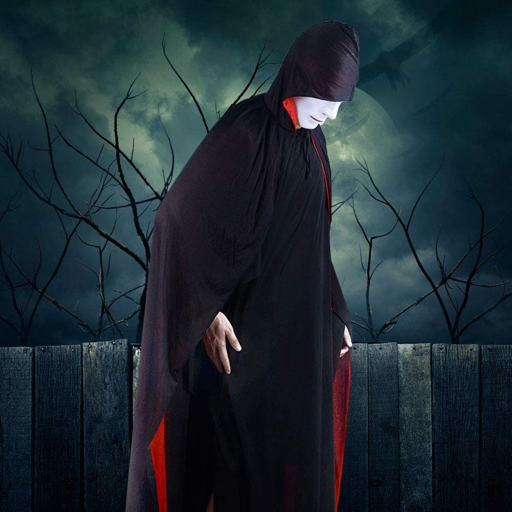Halloween Costume Hooded Cloak Carnival Christmas Cape Masquerade Costume Wicca Vampire Witch Long Hooded Cloak LISOPO Black Cloak