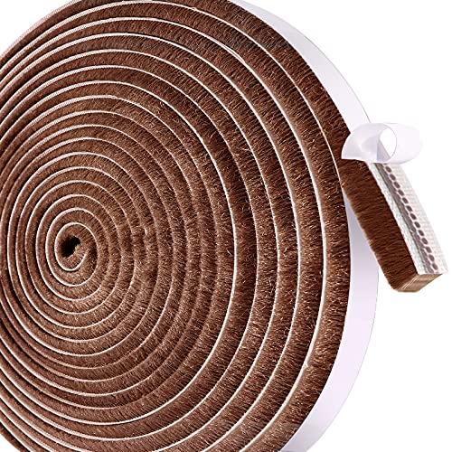 Leobro 隙間テープ すきまモヘアテープ 12mm×6mm×10m ブラウン 毛足長い 超ロング モヘアすき間シール 虫よけすき間テープ 網戸用 玄関 ドア 窓 サッシ用 隙間対策