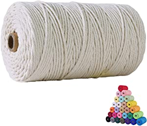 flipped 100% Natural Macrame Cotton Cord,3mm x220 Yards Twine String Cord Colored Cotton Rope Craft Cord for DIY Crafts Knitting Plant Hangers Christmas Wedding Décor (Beige, 3mm220yards)