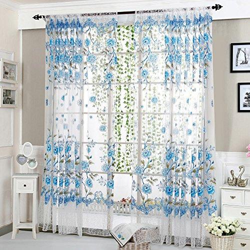 jieGorge Peony Sheer Curtain Tulle Window Treatment Voile Drape Valance 1 Panel Fabric, Home Decor , for Christmas Day (BU)