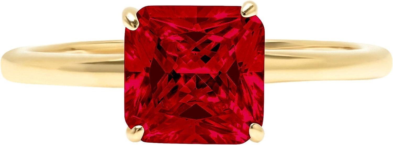 1.9ct Brilliant Asscher Cut Solitaire Natural Crimson Deep Red Garnet Ideal VVS1 4-Prong Engagement Wedding Bridal Promise Anniversary Ring Solid 14k Yellow Gold for Women