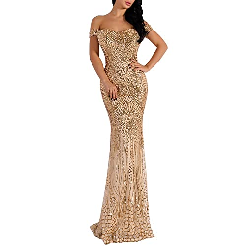 eb99c8271e LinlinQ Women Bra Sequin Maxi Evening Party Dress