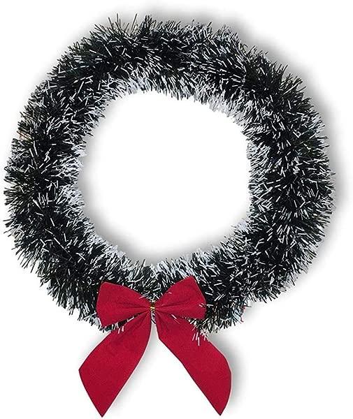 Plum Nellies Treasures Christmas Wreath White Tip Green Pine Red Bow 13 Inches Diameter 1 Wreath 13
