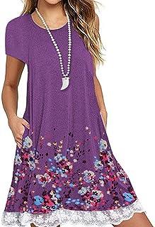 Vestido mujer, nuevo en 2019 Vestido de moda de verano Vestido de encaje o bolsillo con estampado casual en el bolsillo O Vestido de noche de manga cortaE Vestido elegante suelto
