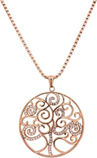 Bevilles Rose Stainless Steel Pave Crystal Tree of Life Necklace