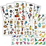 Modou Kinder Piraten Dino Tattoos Set 22 Bögen Farbenfroh Kindertattoos Temporär Dinosaurier Tattoo zum Spielen Spielspass für Jungs/Mädchen zum Kindergeburtstag