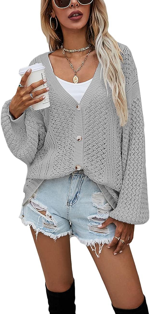 SEBOWEL Women'sVNeckButtonDownLongSleeve Knit Cardigan SweatersCasualLightweightOpen Front PulloverHenleyTops