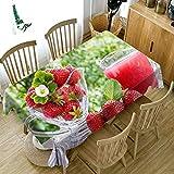 RONGER Mantel con Diseño De Cereza Roja/Fresa 3D, Mantel Redondo Rectangular De Poliéster, Cubierta De Mesa Lavable Espesante A Prueba De Polvo (Strawberry,80cm*180cm)