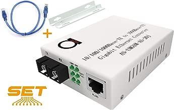 Single Mode Gigabit Fiber Media Converter - Built-In Fiber Module 20 km (12.42 miles) SC – to UTP Cat5e Cat6 10/100/1000 RJ-45 – Auto Sensing Gigabit or Fast Ethernet Speed - Jumbo Frame - LLF Support