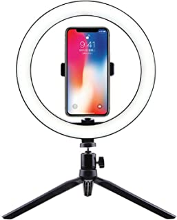 "10"" Phone Selfie Ring Light with Stand Dimmable For Makeup Video Shooting Live for Live Stream Makeup, UBeesize Mini Led C..."