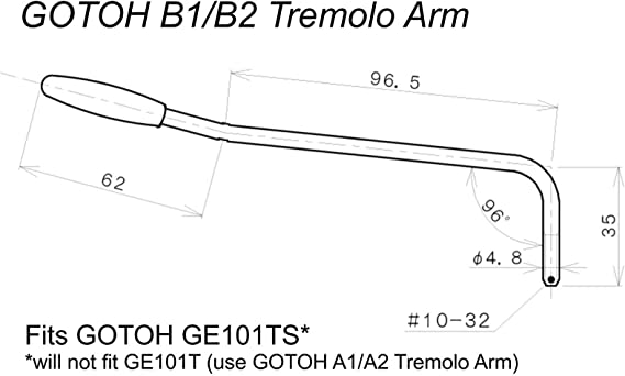 Chrome GE102T Bridge M5 Threads GOTOH A1 C Replacement Tremolo Arm for GE101T