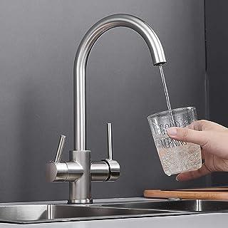 3 طرق صنبور المطبخ المصقول حوض المطبخ صنبور خلاط 360 درجة دوارة 2 رافعة خلاط لنظام التناضح مياه الشرب مصنوعة من النحاس