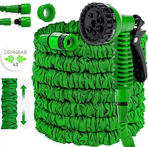 KESSER® Gartenschlauch 22,5m Flexibler Basic Wasserschlauch Flexible dehnbarer Flexischlauch Multisfunktionsbrause mit 8 Funktionen, Adapter inkulsive passend für jeden Wasserhahn mit Gewinde Grün