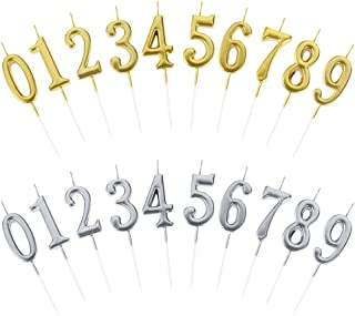 BKpearl 20 Pcs Birthday Numeral Candles, Glitter Cake Numeral Candles Number 0-9 Cake Topper for Birthdays, Weddings, Reunions, Theme Party