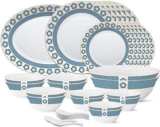 Larah by Borosil - Tiara Series, Crystal, 33 Pcs, Opalware Dinner Set, White
