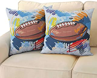 Sports,Square Body Pillowcase Diamond Shape Rugby Ball Sketch with Colorful Doodles Professional Equipment League 24