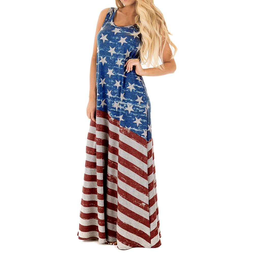 Available at Amazon: TOTOD Dress Women Sexy American Flag Print Round Neck Sleeveless Long Maxi Casual Beach Dresses